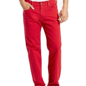 LEVI'S RED 32 X 34 STRAIGHT LEG WITH STRETCH
